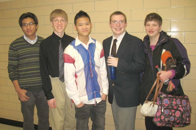 State Speech Participants (L to R): Zam Lai, Daniel Blom, Min Lin, Chander Fisher, Brittany Ryerson. Not pictured: Elizabeth Russell.