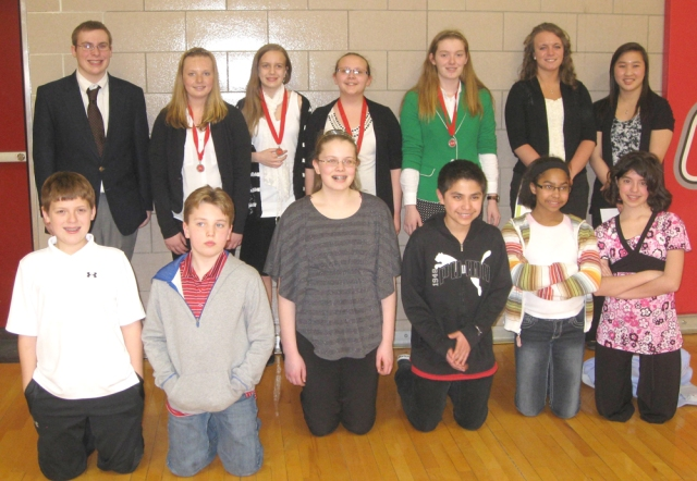 Front (L to R): David Wahl, Aidan Burnside, Olivia Stone, Sam Estrada, Brianna Dean, Phoebe Osgood. Back: Chandler Fisher, Emily Miller, Eve Nettesheim, Carissa King, Jacqueline Wahl, Emily Barske, Therese Kuhlman. Not pictured: Jacob Sears and Darrian Aguilar.