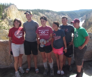 The MHS Envirothon Team near the Yellowstone Falls (L to R): Susan Fritzell (ELP teacher), Joe Metzger, Abby Snyder, Wynn Tan, Adam Willman, Sean Finn.
