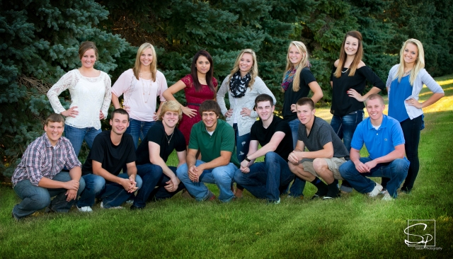 King candidates in the front row, from left, are Adam Willman, Connor Johnson, Luke Reinert, Derek Mann, Joe Cahill, Austin Lovin and Mason McCarville. Queen candidates in the back row, from left, are Chloe Kuehner, Sharissa Stansberry, Cecillia Chavarria, Angel Rysdam, Kari Smith, Laura Mathern and Phoebe Lynk. The coronation ceremony will be held after 7 p.m. Thursday at the MHS Roundhouse.