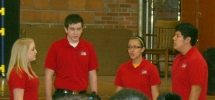 Members of the MHS National Anthem Singers open the celebration at Woodbury Elementary.