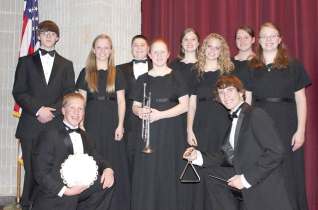 The following students participated in the Drake Honor Band on Dec. 6-7, 2013:  Collin Krukow, Trace Ohrt, Niccole Wolken, Ellen Podhajsky, Hannah Stone, Abigail Stone, Sam Johnson, Emma Alman, Nate Harris, Mikayla Wymore.