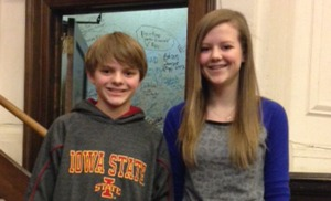 Spelling bee champion Caleb Summers and runner-up Gretchen Benscoter.