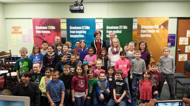 Gov. Terry Branstad and Lt. Gov. Kim Reynolds visited Fisher Elementary Wednesday, March 12, to discuss STEM education.