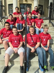Back row: Ryan McDaniel, Collin Krukow, Chandler Schmidt. Middle row: Juan Andrade, Whitney Canaday, Therese Kuhlman, Abby Snyder. Front row: James Drummer, Sean Finn, Adam Willman, Andrew Walker. Not shown: Analisa Iole, Frank Iole, Mary Drummer.