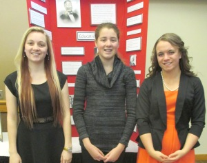 Marshalltown High School participatens (L to R) Natalie Kueny, Whitney Canaday, and state qualifier Emily Barske.