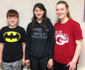 Miller Middle School state qualifiers (L to R)  David Wahl, Victoria Johnson, Jacqueline Wahl.