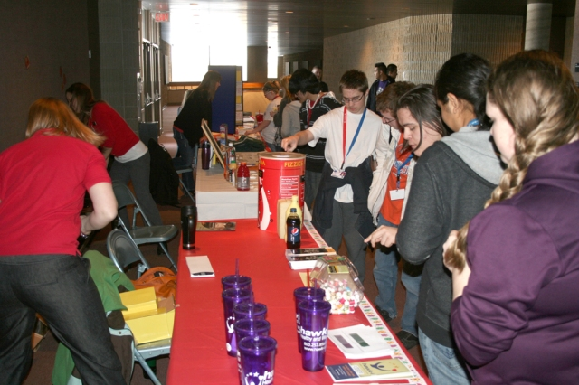 Student visit the various booths at the 2013 MHS Health Fair