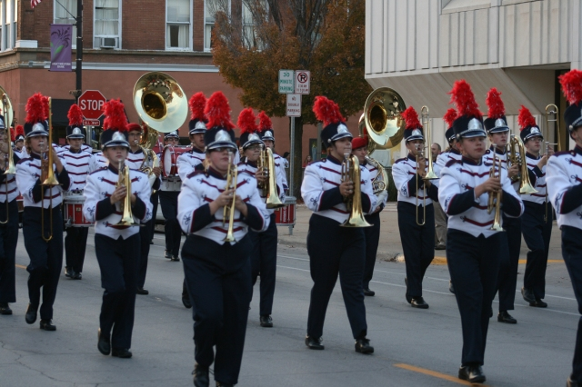 The Bobcat Marching Band performs during the Homecoming Parade Thursday, Oct. 9, 2014.